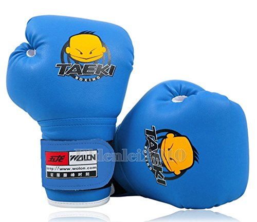 New PU Kids Children Cartoon Sparring dajn Boxing Gloves Training 4oz Age 5-10 Blue (Fancy Dress Boxing Gloves)