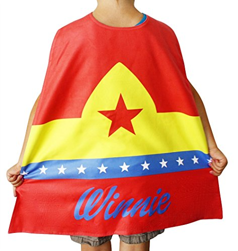 Personalized Kids Cape Costumes (Red Wonder), Girls Superhero Costume and Dress Up Costume, Personalized Pink Superhero Cape for Girls, Little Girls Cape, Custom Super Hero Capes for Kids ()
