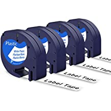 LetraTag Label Tape 91331(S0721610), Startup LetraTag plastic Refill Tape Black on White, Compatible with Dymo Label Makers LetraTag Plus LT100H LT100T QX50, 1/2 Inch(12mm) 13 Feet, 4-Pack