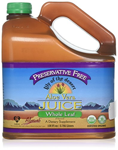 Lily of the Desert Preservative Free Organic Inner Fillet Aloe Vera Juice, 128 Ounce - Supports Health Digestion