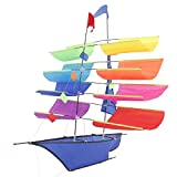 Nuirert 3D Sailing Ship Kite for Kids and Adults, Awesome Rainbow Flying 3D Kites with String and Handle for Outdoor Travel Beach Park