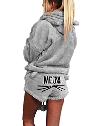 Women s Pajamas Cozy Sleepwear Plush Fleece Meow Embroidered Hoodie Shorts  Set at Amazon Women s Clothing store  2ee64ddd7