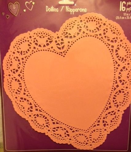 16 Large Pink Heart Shaped Die Cut Paper Doilies