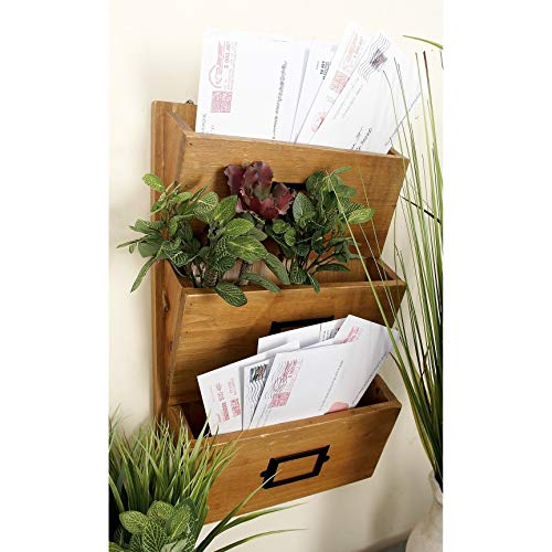 (3 Tiered Brown Wooden Bill Organizer Wall Mount Mail Holder Letter Shelf Rack Hanging Office Storage Pockets Entryway)