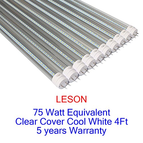 LESON 75W Equivalent T8 4ft G13 LED Tube Light Dual-Ended powered 22W Cool White 6000K Clear Cover 100-277V Super Brightness 10-Pack ()