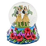 Hawaii Hula Girls 100mm Resin Glitter Water Globe Plays Tune Aloha