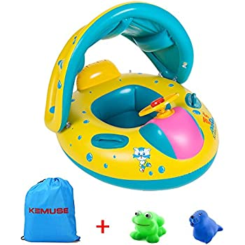 Kemuse Inflatable Baby Pool Float Swimming Ring with Sun Canopy for the Age 6-48 Months with Bath Toys & Gift Storage Bag