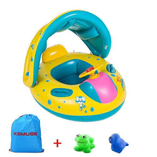 Kemuse Inflatable Baby Pool Float Swimming Ring with Sun Canopy for the Age 6-48 Months with Bath Toys & Gift Storage (Sun Pool)
