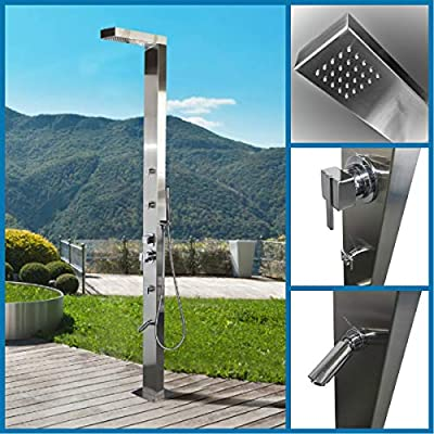 316 Marine Grade Stainless Steel Massage Outdoor Shower Panel (WINDSOR MKII) Swimming Pool Backyard Bathroom Hot & Cold Rainfall Hand Held Wall Mounted or Free Standing Outside Shower from No Worries Showers