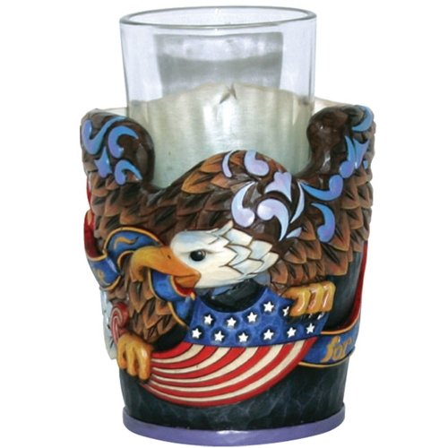Enesco Jim Shore Heartwood Creek from Patriotic Eagle with Flag Candleholder 4.25 in