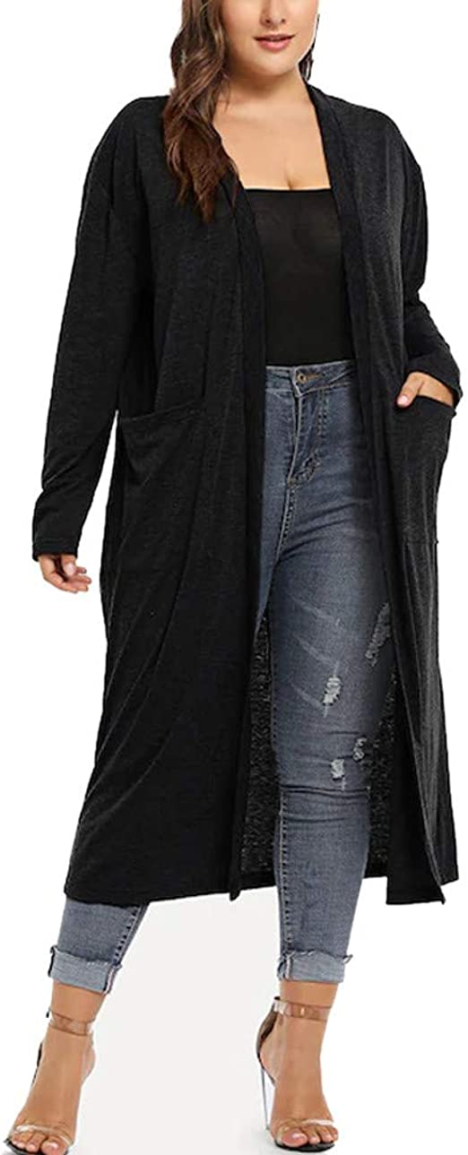 New Women Long Sleeve Solid Casual Knitted Long Cardigan Sweaters Coat Plus Size