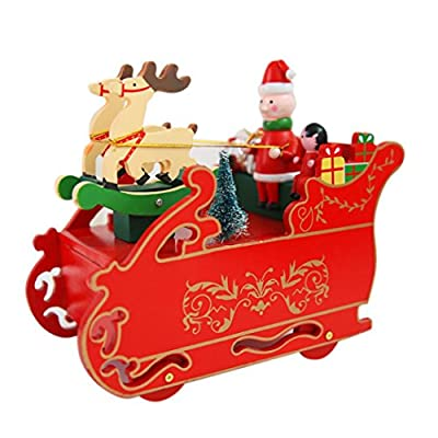 Minertech Christmas Rotating Locomotive Snow car Gift Music Box Indoor Decoration
