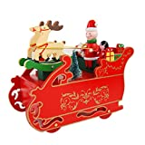 Minertech Christmas Rotating Locomotive Snow car Gift Music Box Indoor Decoration (B)