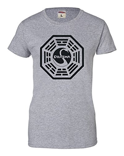 Go All Out Screenprinting Medium Sport Grey Womens Dharma Swan T-Shirt