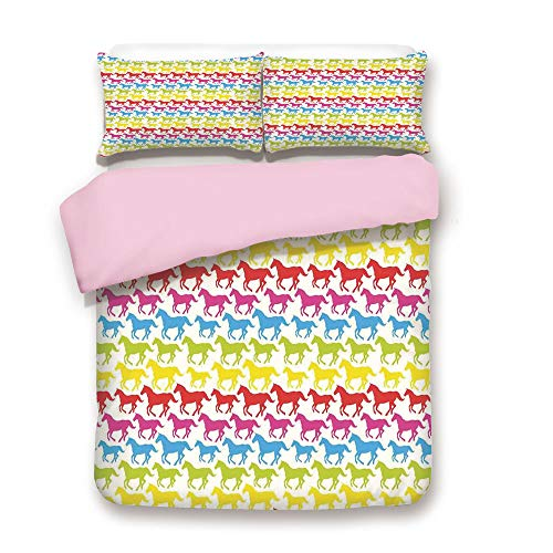 Pink Duvet Cover Set,Queen Size,Rainbow Colors Giddy Up Pony Animal Art Retro Design Pattern Abstract Wild and Free,Decorative 3 Piece Bedding Set with 2 Pillow Sham,Best Gift For Girls Women,Multicol