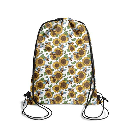 Drawstring Backpacks bees and yellow sunflowers Storage Dance Party Bag Cute Sackpack ()