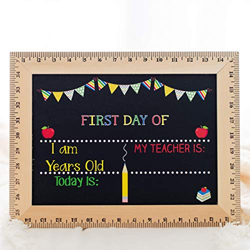 First Day of School Chalkboard, Easy to Clean Reusable Sign Board, Real Wooden Ruler Frame, Handmade