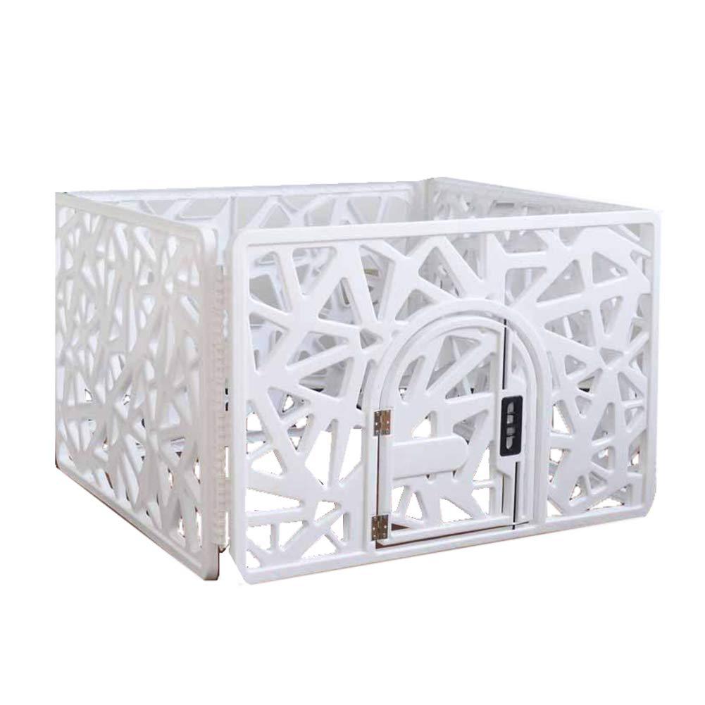 ペットベビーサークルアニマルフェンスケージ、シングルドアプラスチックドッグベビーサークル、室内ペット用品 (Color : 白い) 白い