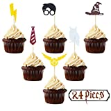 JAGGER M Harry Potter Inspired Cupcake Toppers (Set of 24) Wizard Birthday Party Decorations Supplies Hogwarts Party Decor
