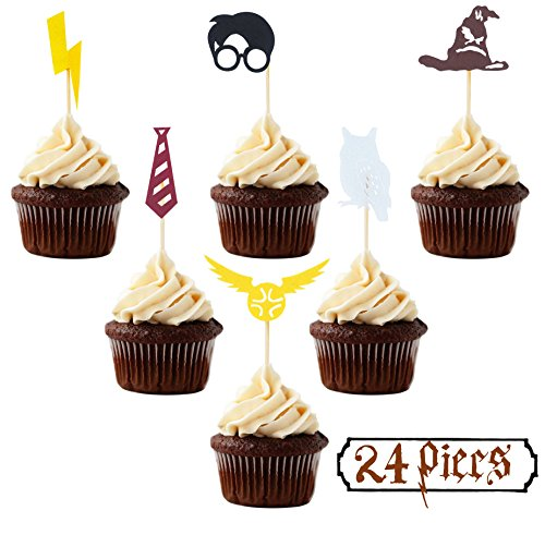 Harry Potter Inspired Cupcake Toppers (Set of 24) Harry Potter Wizard Birthday Party Decorations Supplies Hogwarts party decor -
