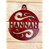 Personalized 2018 Christmas Ornament From Solid Wood Holiday Swirl Design