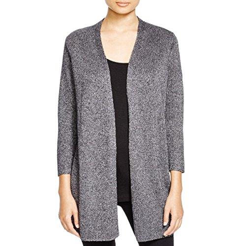 Eileen Fisher Womens Metallic Open Front Cardigan Sweater Gray (Eileen Fisher Wool Cardigan)