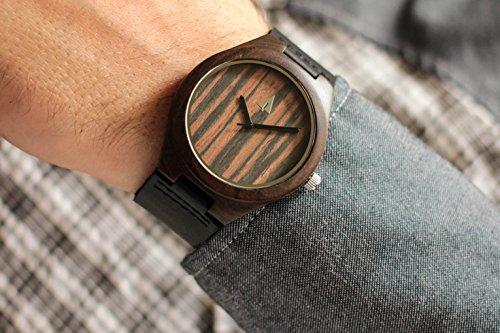 1c9e84642a Amazon.com  Treehut Mens Black Ebony Wooden Watch with Genuine Black  Leather Strap Quartz...  Tree Hut  Watches