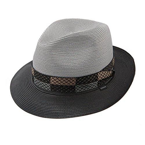 Stetson & Dobbs TSANDV-1522 Men's Andover - Straw Fedora Hat, Grey - - Fashion Dobbs