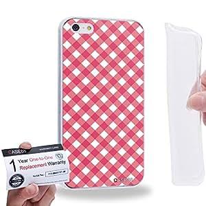 Case88 [Apple iPhone 5 / 5s] Gel TPU Carcasa/Funda & Tarjeta de garantía - Art Coloured Doodle Patterns Pink Checker 1406