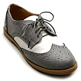 Ollio Women's Flat Shoe Wingtip Lace Up Two Tone Oxford M2913(10 B(M) US, Grey)