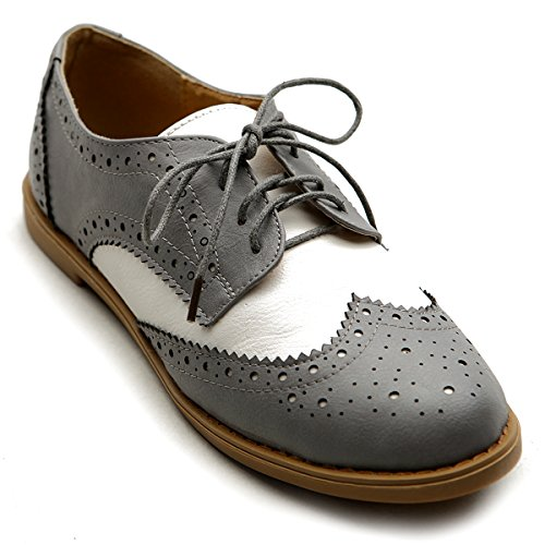 Ollio+Women%27s+Flat+Shoe+Wingtip+Lace+Up+Two+Tone+Oxford+M2913%287.5+B%28M%29+US%2C+Grey%29