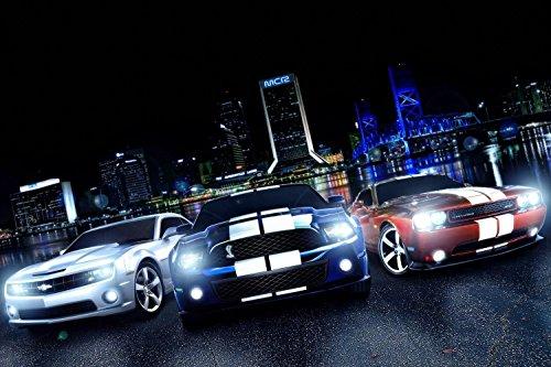 Chevrolet Camaro Ford Mustang Cobra Dodge Challenger SRT Poster 24x36