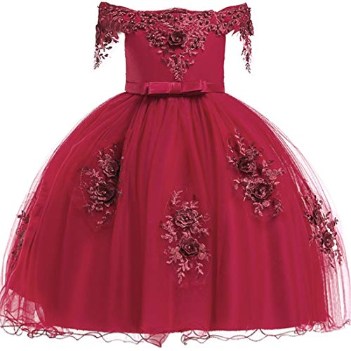 Red Dresses for Girls 4-5 Years Old Lace Tutu Tulle Princess Dresses Bridesmaid Prom Dress for Girls Lace Size 5 Ruffle Sleeveless Knee Length Pageant Dress for Wedding Elegant Frocks (Red 120)