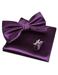 Alizeal Mens Tuxedo Bow Tie& Hanky& Cufflinks Set (Dark Purple)