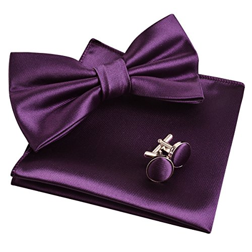 (Mens Tuxedo Bow Tie& Hanky& Cufflinks Set (Dark Purple))