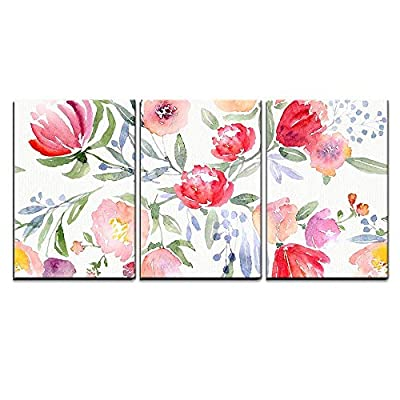 3 Piece Canvas Wall Art - Watercolor Floral Botanical Pattern and Seamless Background - Modern Home Art Stretched and Framed Ready to Hang - 16