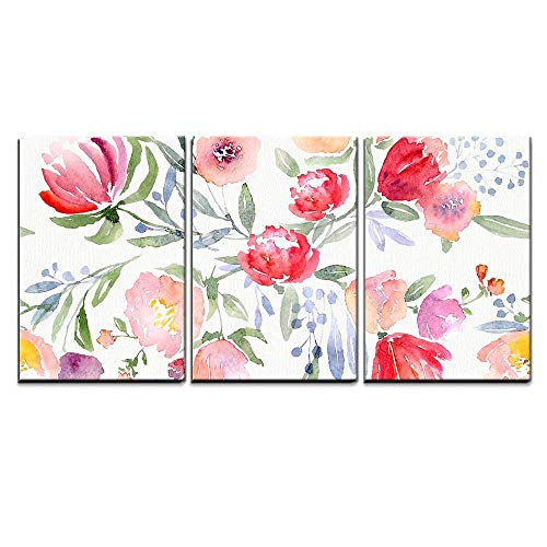 wall26 - 3 Piece Canvas Wall Art - Watercolor Floral Botanical Pattern and Seamless Background - Modern Home Decor Stretched and Framed Ready to Hang - 16