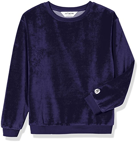 Kid Nation Kid's Cozy Velour Pullover Sweatshirt for Boys and Girls M Navy
