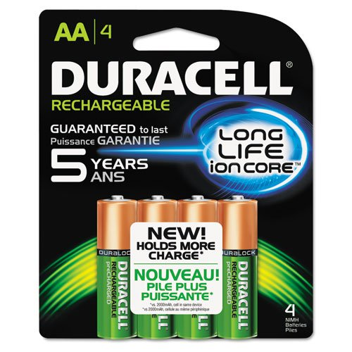 Duracell Rechargeable NiMH Batteries with Duralock Power Preserve Technology, AA, 4/Pk