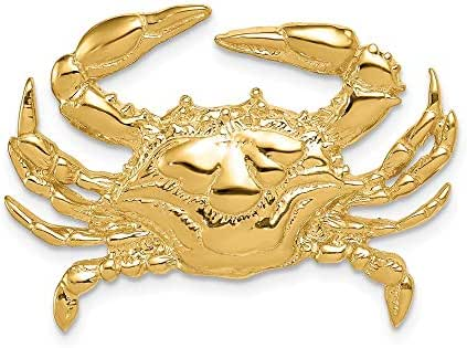 14k Yellow Gold Blue Crab Slide Necklace Pendant Charm Omega Fine Jewelry Gifts For Women For Her