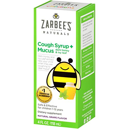 Zarbee's Naturals Children's Cough Syrup + Mucus with Dark Honey, Natural Grape Flavored Formula That  Soothes Throats, 4 Ounce Bottle Safe, effective, drug free (Zarbees Cough Syrup And Mucus Relief Reviews)
