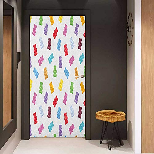 Onefzc Glass Door Sticker Decals Kids Vibrant Colored Gummy Bears Candies Delicious Jelly Sugary Snack Chewy Sweet Taste Door Mural Free Sticker W23 x H70 Multicolor