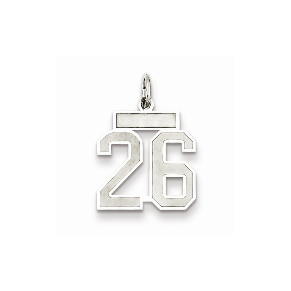 Number 2 Pendant Two Digit Charm Numeral Satin Small Sterling Silver