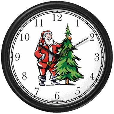 Christmas Theme Wall Clock - Santa Claus and Christmas Tree Christmas Theme Wall Clock by WatchBuddy Timepieces (Hunter Green Frame)