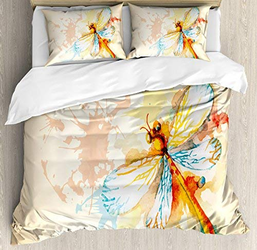 Dream-Decor Queen Size Dragonfly 4 Piece Bedding Set Duvet Cover Set, Watercolor Moth with Branch Print Wings on Abstract Backdrop, Comforter Cover Bedspread Pillow Cases with Zipper Closure