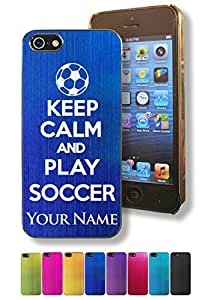 Apple Iphone 5/5S Case/Cover - KEEP CALM AND PLAY SOCCER - Personalized for FREE (Click the CONTACT SELLER button after purchase and send a message with your case color and engraving request)