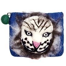 "BloomyLife ""White Tiger"" Nepal Handmade Wool Felt Zippered Wallet Clutch Purse: Blue"