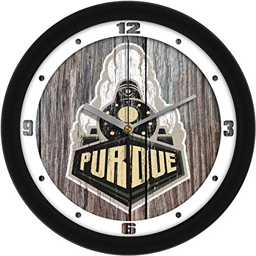 SunTime Purdue Boilermakers - Weathered Wood Wall Clock
