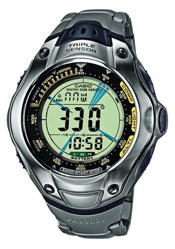 Casio U 251 - Reloj digital unisex de cuarzo con correa de titanio plateada (altímetro
