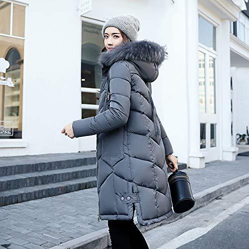 Donna Cotone Tasca Giacche Deep In Huhu833 Lunghe Cappuccio Grey Imbottite Capispalla Piumino Da Con p1w5qBqF